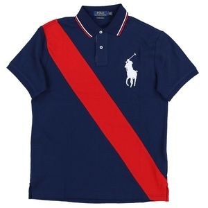 Custom Slim Fit Big Pony Sash Stripe Polo Shirt